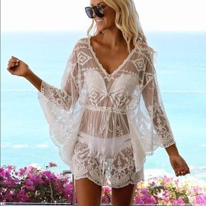 Boho Gypsy Beach Goddess Swim Cover Up White